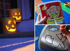 Halloween luminaries made from an empty baby formula can