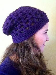 Perfect Purple Slouchy Beanie - Free Crochet Pattern by The Hippy Hooker