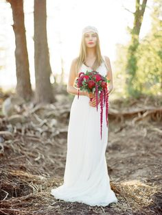 Romantic red bridal bouquet | Ksenia Milushkina Photography | see more on: http://burnettsboards.com/2014/08/romantic-berry-wedding-editorial-forested-beach/
