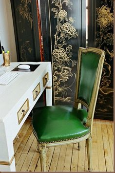 desk and green chair