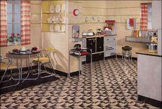 retro kitchen...note the built in book shelf...