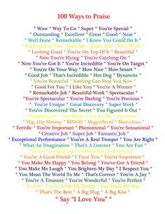 Ways to praise a child
