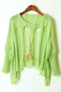 Cutout Batwing Sleeve Sweater