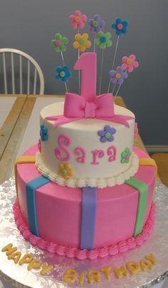 girl's 1st bday cake