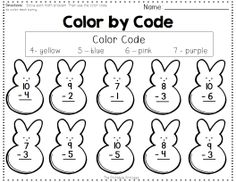 FREEBIE! Addition and subtraction color by code. Includes optional peep counters.