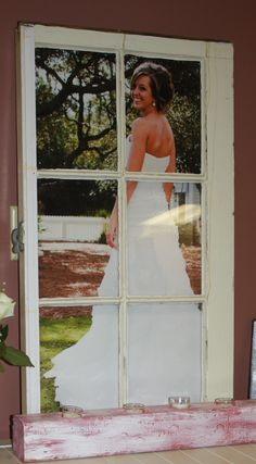 old window for frame!!! I love this idea @Jenn L Milsaps L Milsaps L White