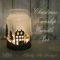 DIY Christmas Township Candle Jar..{It's no secret: Women love candles. - Shabby Art Boutique}...uses Santa Snow (canned snow) instead of the messy Epsom salt.