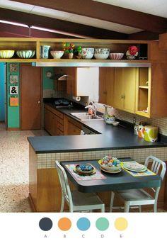 mid century modern, color palettes, cozy kitchen, modern interior design, shelv, modern kitchens, modern interiors, modern homes, retro kitchens