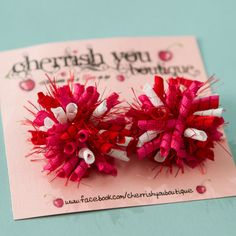 For Zoe's Valentines Gift Sweetheart Mini Korker Hair Bows -  Baby Girl Hair Bows - Toddler Hair Bows - Hot Pink, Red and White Hair Clips