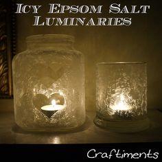 A cool idea for making interesting centerpiece luminaries -  Icy Epsom Salt Luminaries