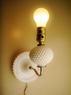 Wall Sconce Vintage Lamp Hobnail Milk Glass Lamp by TandRTreasures