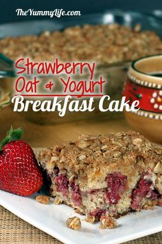 Strawberry Oat Yogurt Breakfast Cake