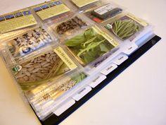 garden seed organizer binder, seed organization, garden binder, store seed, organizations, blue plaid, plaid binder, ring binder, seed binder