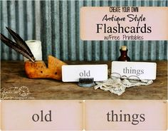 Antique Style Flash Card FREE Printables from Knick of Time @ knickoftimeinteriors.blogspot.com