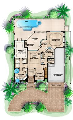 Mediterranean House Plan chp-37156 at COOLhouseplans.com