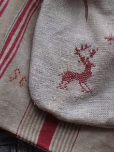 My loves mixed together: Scandinavian white & red, soft vintage linen, simple embroidery  Thistlebrooms embroidery