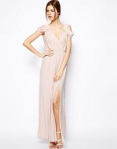 blush maxi bridesmaids dress