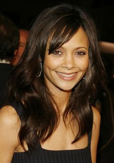 thandi newton, shoulder length hairstyles, mid length, long hairstyles, wavy hair, curls, side bangs, fathers, black