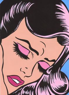 The eye lashes and lips on these pop art ladies are gorgeous.