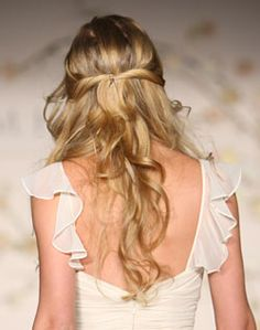 half-up twisted back hair