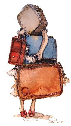art illustrations, pack light, travel light, bag, paper fashion, travel art, paperfashion, place, suitcas