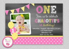 Pink and Yellow Chalkboard 1st Birthday by The Trendy Butterfly,