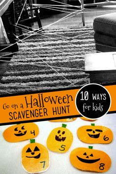 10 spooky-fun Halloween scavenger hunt ideas with pumpkins, spiders, monsters, ghosts and Halloween decorations