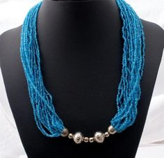 Multi 20 Strand Turquoise Blue Glass Bead Torsade Hand Crafted Necklace Vintage   eBay