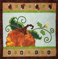 """Pumpkin Vine Wallhanging Pattern by Jeri Kelly at KayeWood.com. Already for your seasonal decorating. Dimensions 14 1/2"""" x 14 1/2"""". http://www.kayewood.com/item/Pumpkin_Vine_Wallhanging_Pattern/3374 $8.50"""
