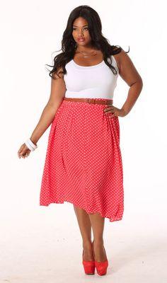 Polka Dot Knee Length Skirt