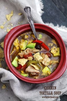 Chicken Tortilla Soup | www.diethood.com | This hearty Chicken Tortilla Soup is super flavorful, filled with delicious chicken, tomatoes, peppers, black beans and garnished with crispy tortilla chips and avocado. | #soup #recipe #chicken