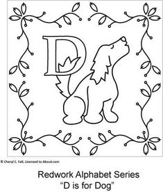 D is for Dog... RedWork Series patterns, embroideri pattern, alphabet embroideri, bordado, alphabet seri, redwork alphabet, stitcheri, embroidery, red work