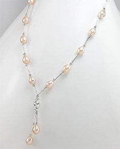 Silver and Natural Peach Pearl Necklace