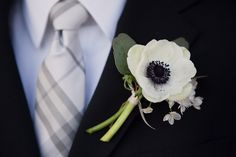 boutineer Boutonnier, Bouquet, Tie, Bridesmaid Dresses, Wedding Flowers, Black White, Anemon, Poppi, Groom
