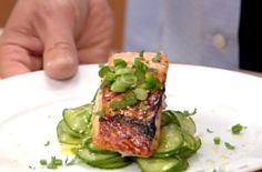Miso Salmon with Cucumber Salad  by oprah: Very easy to prepare, incredibly tasty and as good cold as warm. #Salmon #Miso_Salmon #oprah