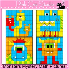 Monsters Mystery Pictures Math Worksheets: Your students will have a blast using their math skills to uncover these fun and colorful monster characters. These worksheets are great for math centers, homework and whole class. By Pink Cat Studio