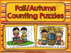 Fall/Autumn Counting Puzzles from The Teaching Treehouse on TeachersNotebook.com -  (14 pages)  - Fall counting fun! 14 Fall/Autumn themed puzzles for counting practice with numbers to 100. Simply print, laminate, and cut apart. Great for math centers! Aligned to Kindergarten Common Core Standards
