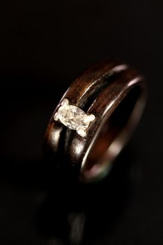 Ebony Wooden Ring With A .25 carat 5x3 Diamond Engagement ring #etsy