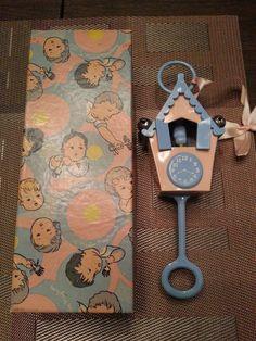 Vintage cuckoo clock baby rattle, 1950's. Cute!!!