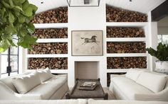living rooms, hotel, chic design, live room, live oak, fireplace wall, feature walls, wood walls, firewood storage