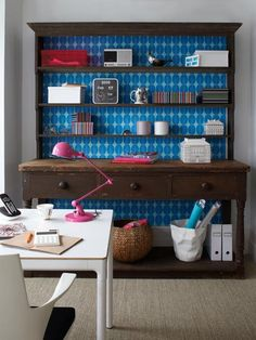 love the idea of transforming an old hutch into something bright and new that can be used as an office space.