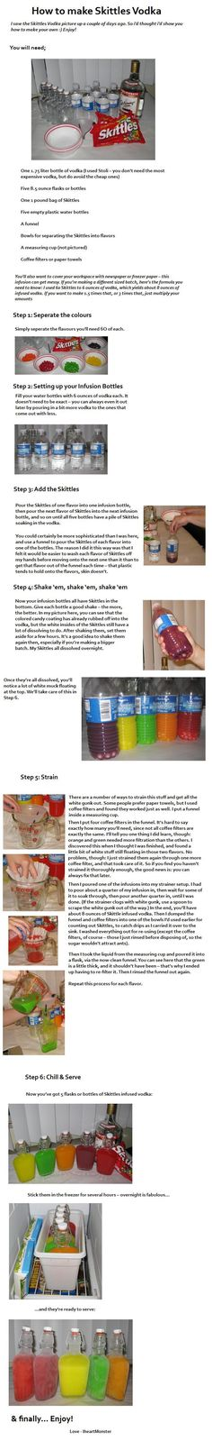 Skittles infused vodka. works with lemonade too for colourful drinks