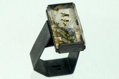 Ring | Chris Boland. 'Monolith' Silver and Dendrite Quartz.