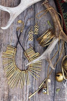 #MADE #RootNeedlesNecklace #HornlockEarrings #BrushwoodCuff #HeartwoodNecklace #Anthropologie