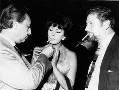Sophia Loren with Romain Gary and Peter Ustinov, 1964