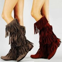 Tall Fringe Moccasin Boots for Girls - Women Flat Fringe Moccasin Boots