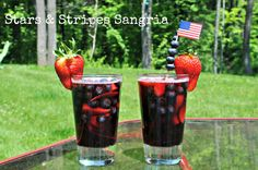 Sangria -- Red Wine--  Sprite--  Blueberries--  Strawberries--   combine this to your liking.      Layer your fruit in an alternating pattern and add the wine and Sprite.  Allow to sit for a few hours before serving.  This helped the flavors to blend really nicely