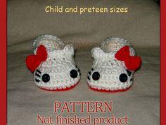 PDF Pattern 45  Crochet Hello Kitty Slippers House by Cathyren