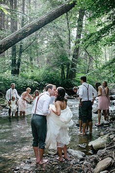 bridal party in the creek | Emily Weis #wedding