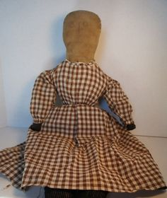 Antique cloth rag doll with pencil face